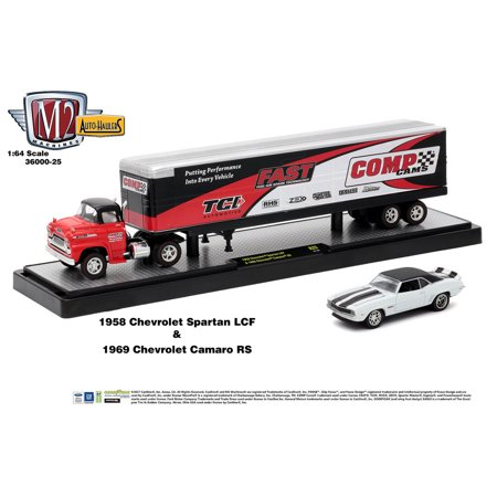 M2 Machines Auto Hauler Release 25 1958 Chevy Spartan LCF & 1969 Camaro RS