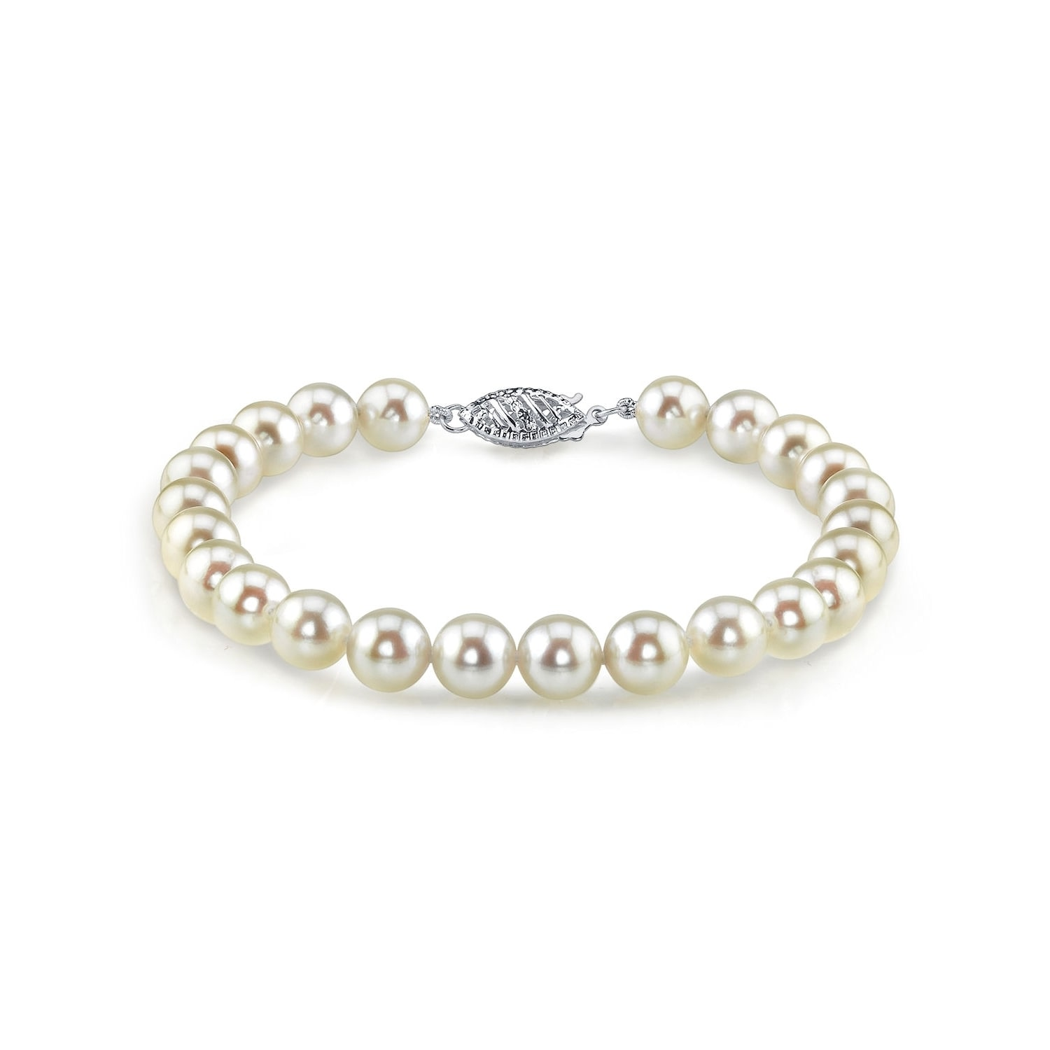 Radiance Pearl 14k Gold AAA-quality White Akoya Pearl Bracelet (7.5-8mm) by Overstock