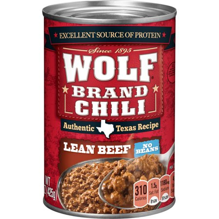 - WOLF BRAND Mild Chili Without Beans, 15 oz.
