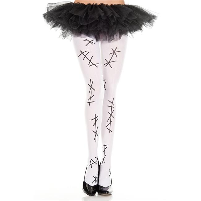 37317-WHITE-BLACK Faux Stitch Pantyhose, White & Black - image 1 of 1