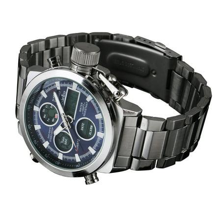 - Mens Silver Black Dial Quartz Digital Watch Stainless Steel Case Date Display