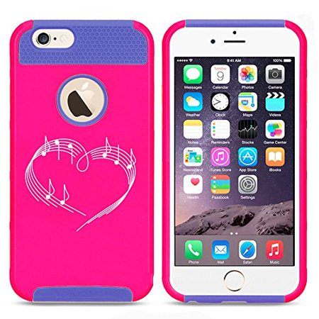 Apple iPhone 6 6s Shockproof Impact Hard Case Cover Heart Love Music Notes (Hot Pink/Blue),MIP - Music Note Hat