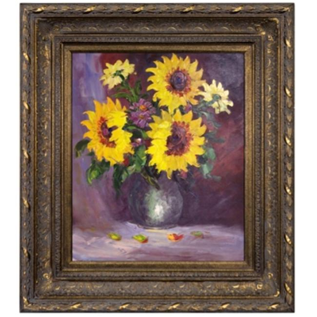 Artmasters Collection KM89434-668DG Sunflowers III Framed Oil Painting