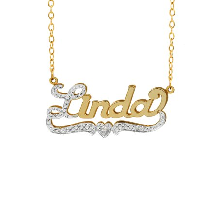 Personalized Sterling Silver, Gold Plated, 10K or 14K Nameplate Necklace with First Initial and Tail Beaded and Rhodiumed with an 18 inch Link Chain