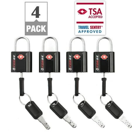 Tsa Approved Luggage Locks  Black 4 Pack  Ultra Secure Dimple Key Travel Locks  Lifetime Warranty