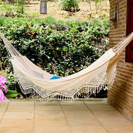 El Natural Hammock Bed (XL Brazilian Fabric Double Hammock with Fringe )