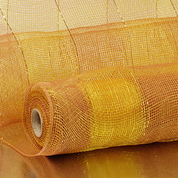 "21"" X 10 Yards Brown/Gold 2-Clrd Wide Stripe Deco Mesh by Paper Mart"