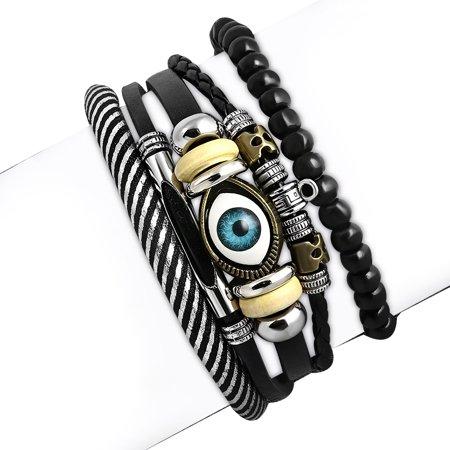 Fashion Pink Black Silver-Tone Leather Evil Eye Protection Bracelet Set, (Evil Eye Fashion Bracelet)