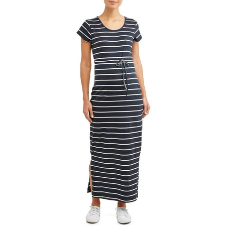 Oh! Mamma Maternity stripe drawstring waist maxi dress - available in plus