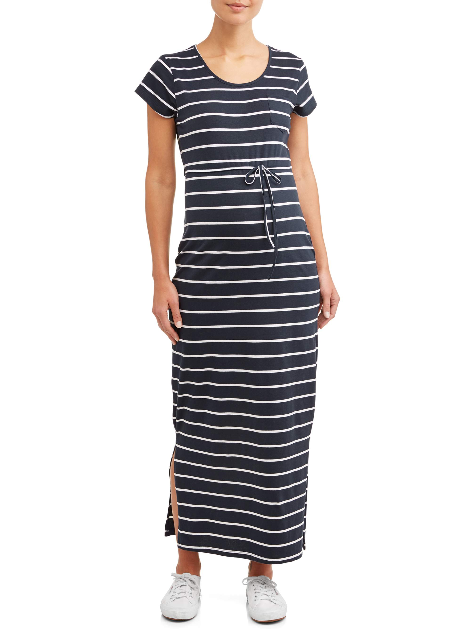 Maternity Stripe Drawstring Waist Maxi Dress - Available in Plus Sizes