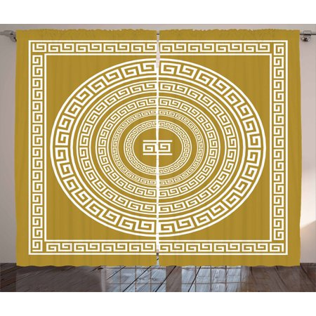 Greek Frieze (Greek Key Curtains 2 Panels Set, Frieze with Vintage Ornament Meander Pattern from Greece Retro Twist Lines, Window Drapes for Living Room Bedroom, 108W X 84L Inches, Goldenrod White, by Ambesonne)