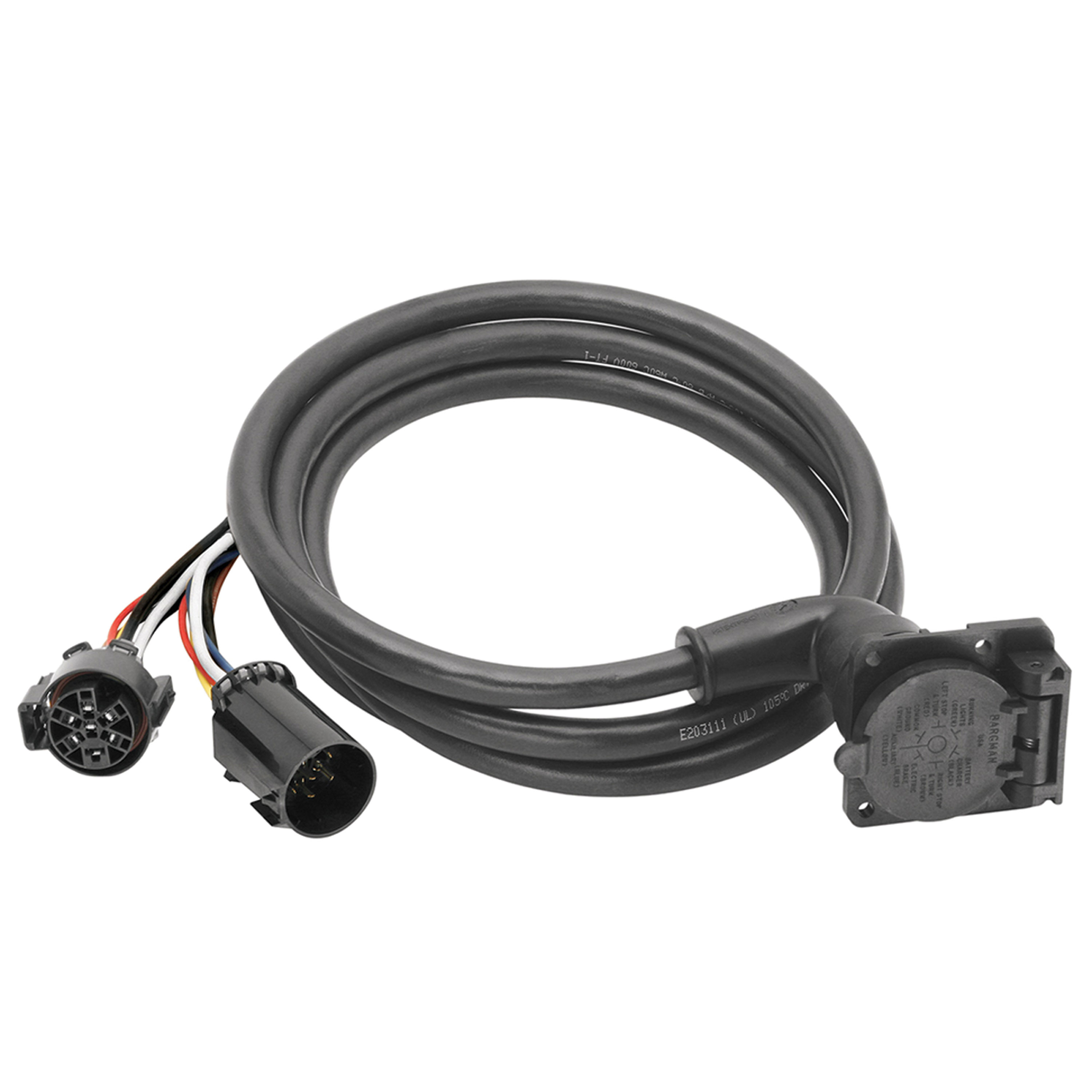 Bargman 51-97-410 7-Way 90° Fifth Wheel Adapter Harness w/ 9' Cable - Dodge, Ford, GM, Toyota