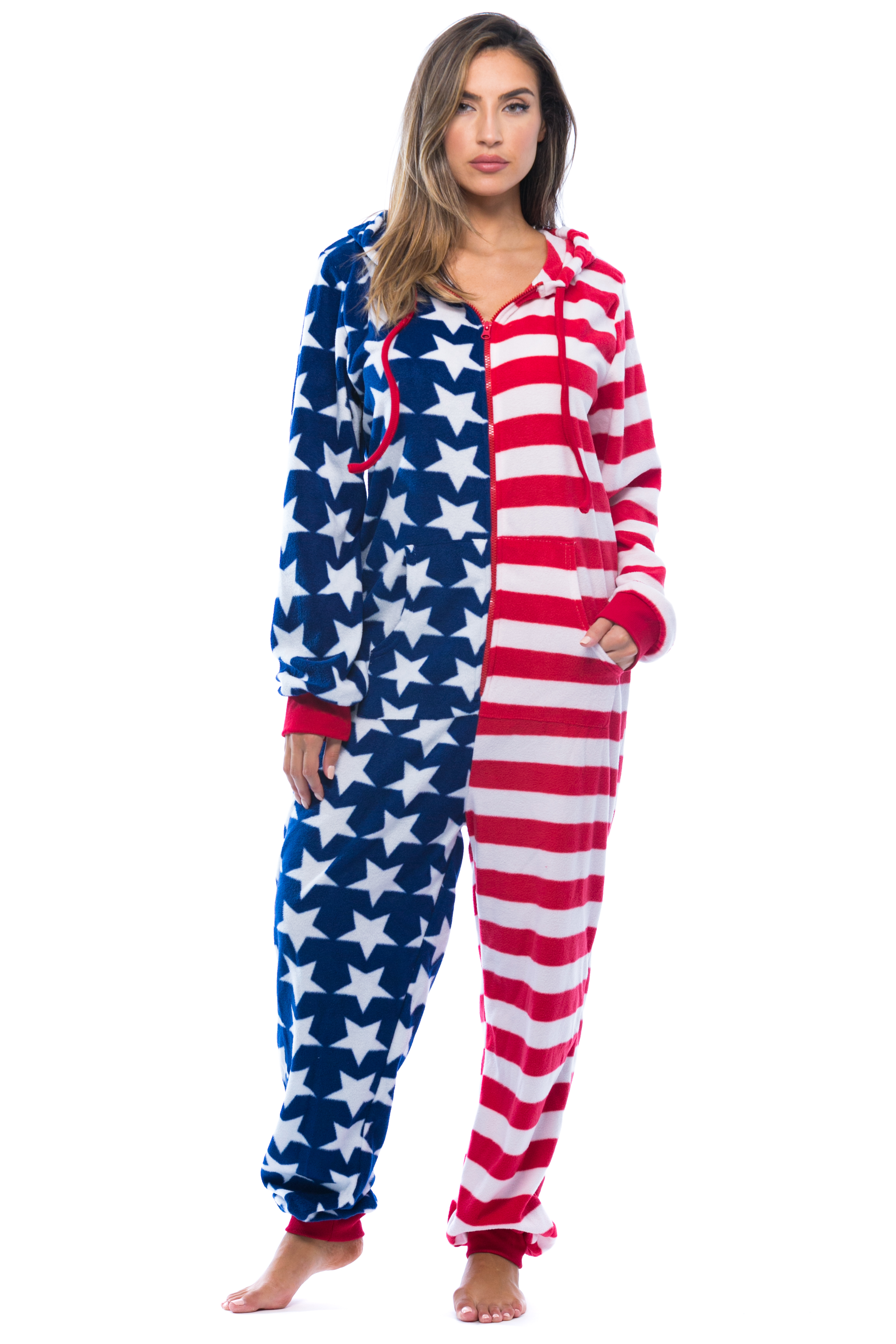 7029a9db3 FollowMe -  FollowMe American Flag Adult Onesie   Pajamas - Walmart.com