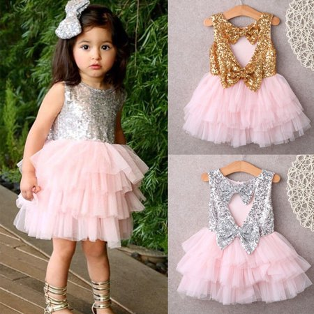 Baby Girl Sequins Dress Bow Lace Tulle Tutu Cake Dress Gown Formal Party Dresses