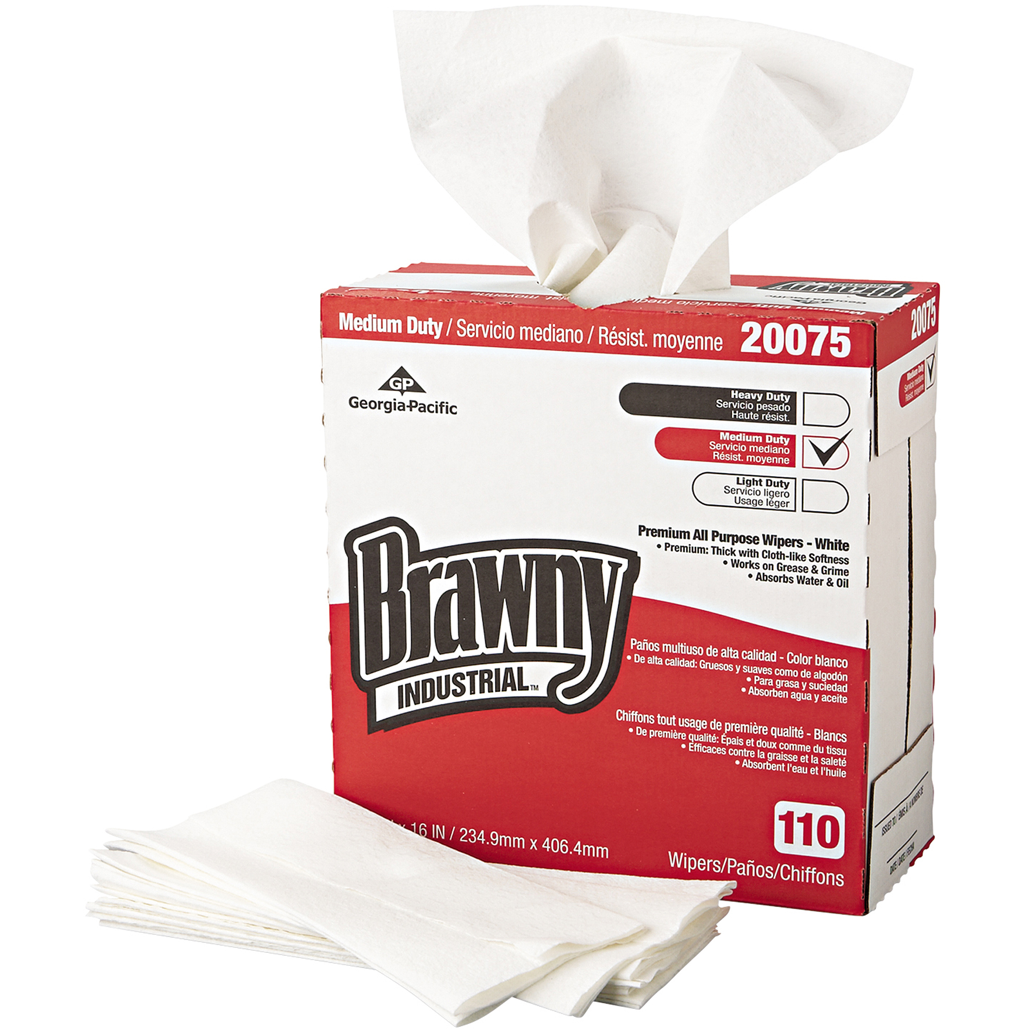 Brawny Industrial Medium Duty Premium All Purpose Wipers, 110 sheets, 10 count