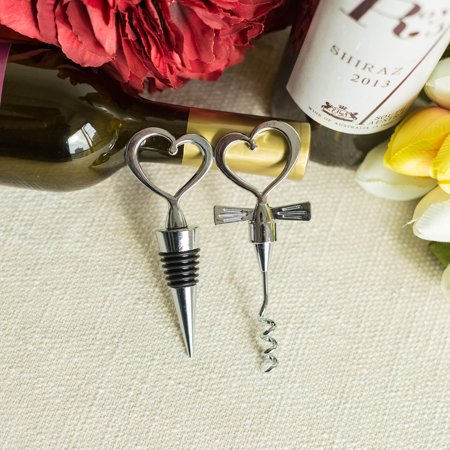BalsaCircle Heart Wine Set of Bottle Stopper and Opener with Gift Box - Wedding Favors Accessories Decorations Wholesale Supplies](Accessories Wholesale)