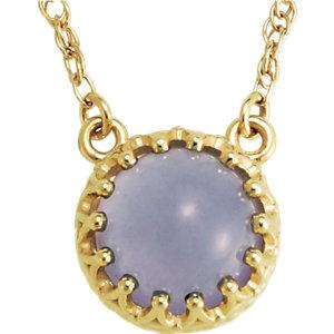 """14K Yellow 8mm Round Blue Chalcedony 18"""" Necklace by"""