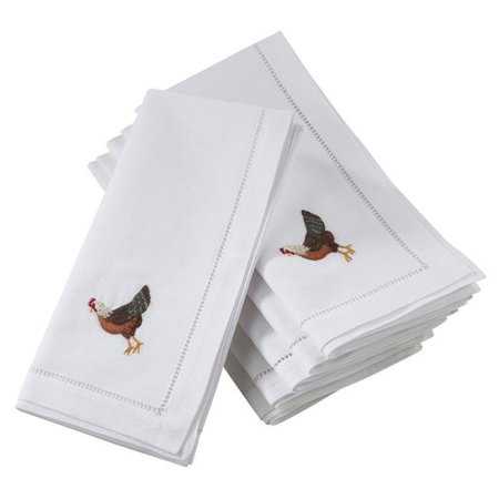 Saro Lifestyle NM151.W20S 20 in. Broderie Square Cotton Table Napkins with Embroidered Hen Design - White, Set of 6 - image 1 of 1