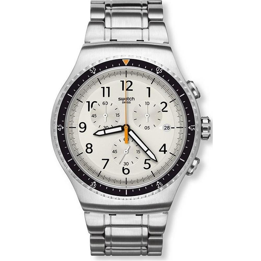 Swatch Minimalis Tic Chronograph Stainless Steel Men's Watch, YOS453G by Swatch