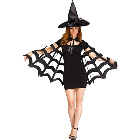 Spider Web Cut Capelet Women's Costume (Black) - One Size 4/14