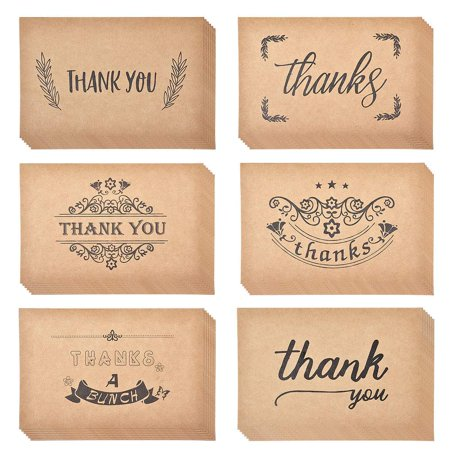 eZAKKA Thank You Cards, 36-Pack Thank You Notes Kraft Paper Bulk Thank U Greeting Card Set for Wedding, Graduation, Baby Shower, Bridal Party, Business, Anniversary, Birthday, 4 x 6 Inches](Thank You Notes For Baby Shower)