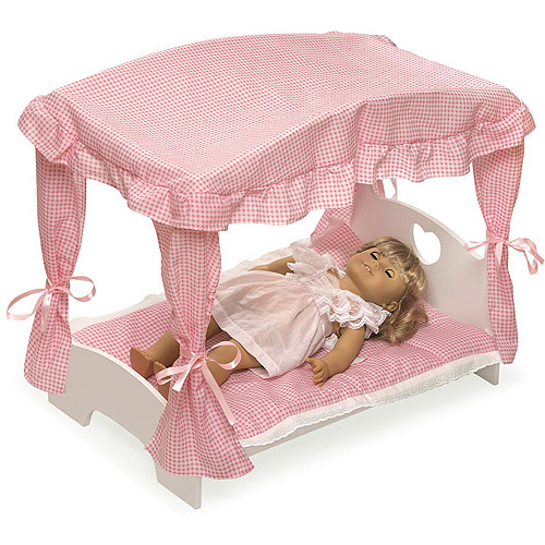 "Badger Basket Doll Canopy Bed with Pink Gingham Bedding - Fits Most 18"" Dolls & My Life As"