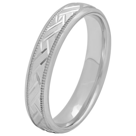 Women's Sterling Silver 4mm Basket Weave Wedding Band - Womens Ring