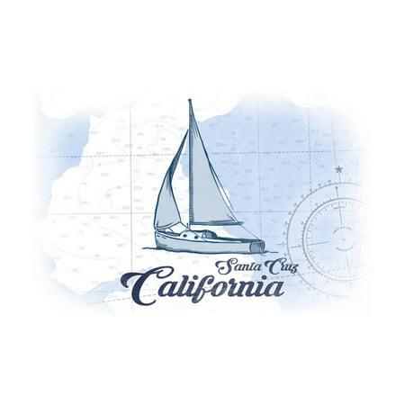 santa cruz california sailboat blue coastal icon print by lantern press