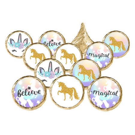 Unicorn Party Favor Stickers, 324 count - Magical Unicorn Birthday Party Supplies Rainbow Unicorn Candy Labels Unicorn Baby Shower Decorations - 324 Count Stickers (Party City Supplies For Baby Shower)