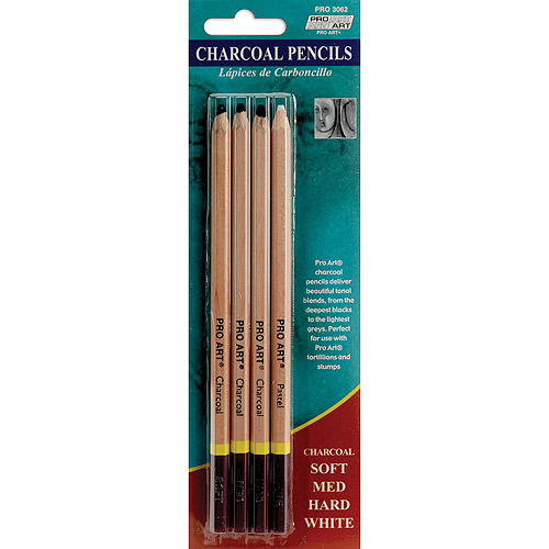 Pro Art Charcoal Pencils, 4-Pack