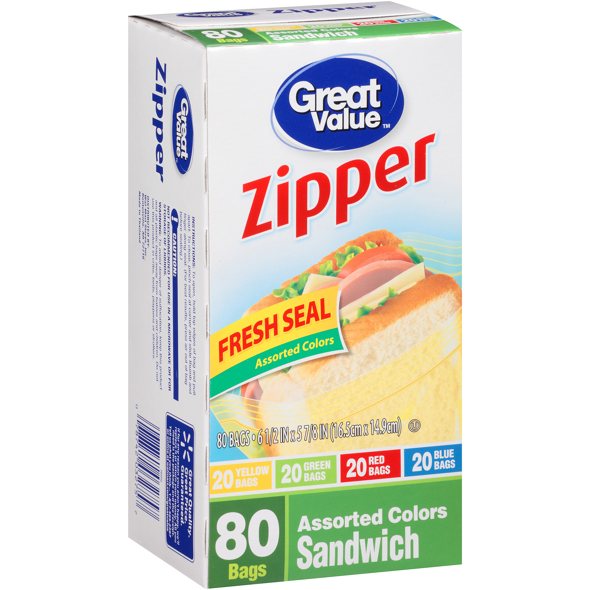 Great Value Sandwich Bags, 80 count