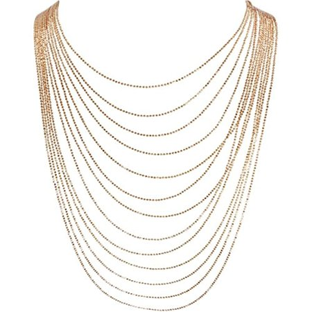 63db20f3393 Humble Chic NY - Multi-Strand Statement Necklace - Slim Chain Beaded  Waterfall Bib Long Chains, Gold-Tone 36