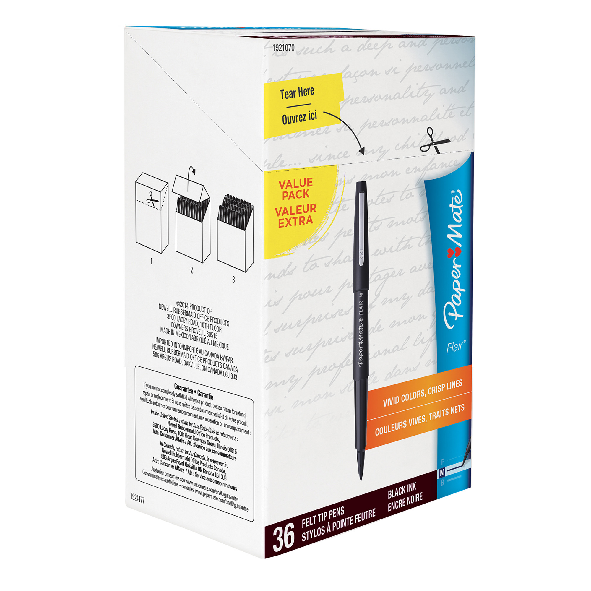 Paper Mate Flair Felt Tip Pens, Medium Point, Black Ink, Box of 36