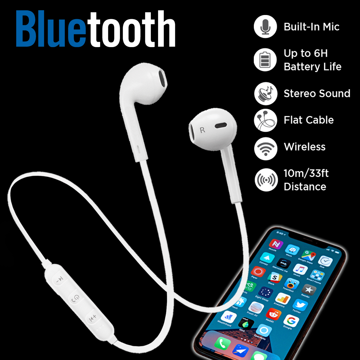 Woozik Melody Bluetooth Headphones, Wireless Earbuds Stereo Earphone Sport Headsets for iPhone XS