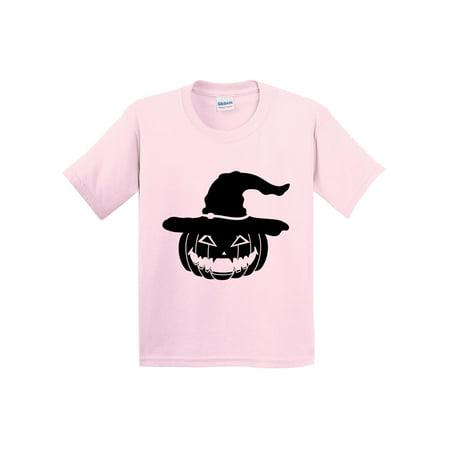 Trendy USA 969 - Youth T-Shirt Halloween Pumpkin Witch Hat Scary XL Light Pink](Hallowen Usa)