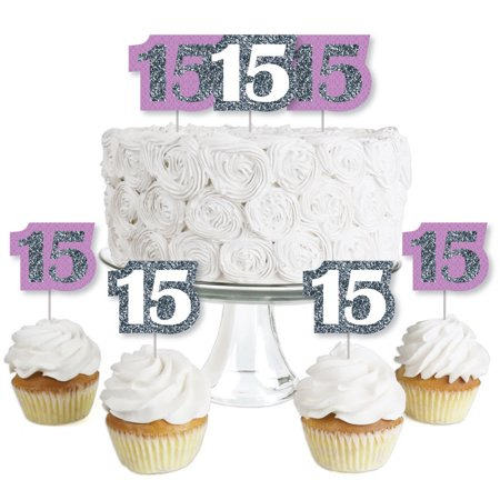Quinceanera Purple - Sweet 15 - Dessert Cupcake Toppers - Birthday Party Clear Treat Picks - Set of - Sweet 15 Themes