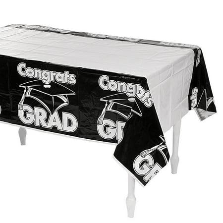 Black Congrats Grad Plastic Tablecloth