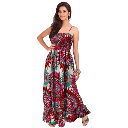 eae882c38f LA LEELA - Tube Dress Maxi Skirt Beach Backless Sundress Evening ...