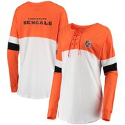 Cincinnati Bengals New Era Women's Athletic Varsity Lace-Up Long Sleeve T-Shirt - Orange/White