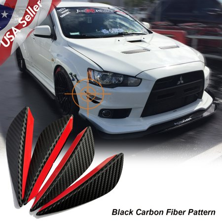 Xotic Tech 4 Pieces Carbon Fiber Pattern Trim Bumper Fins Diffuser Canards Splitters Kits