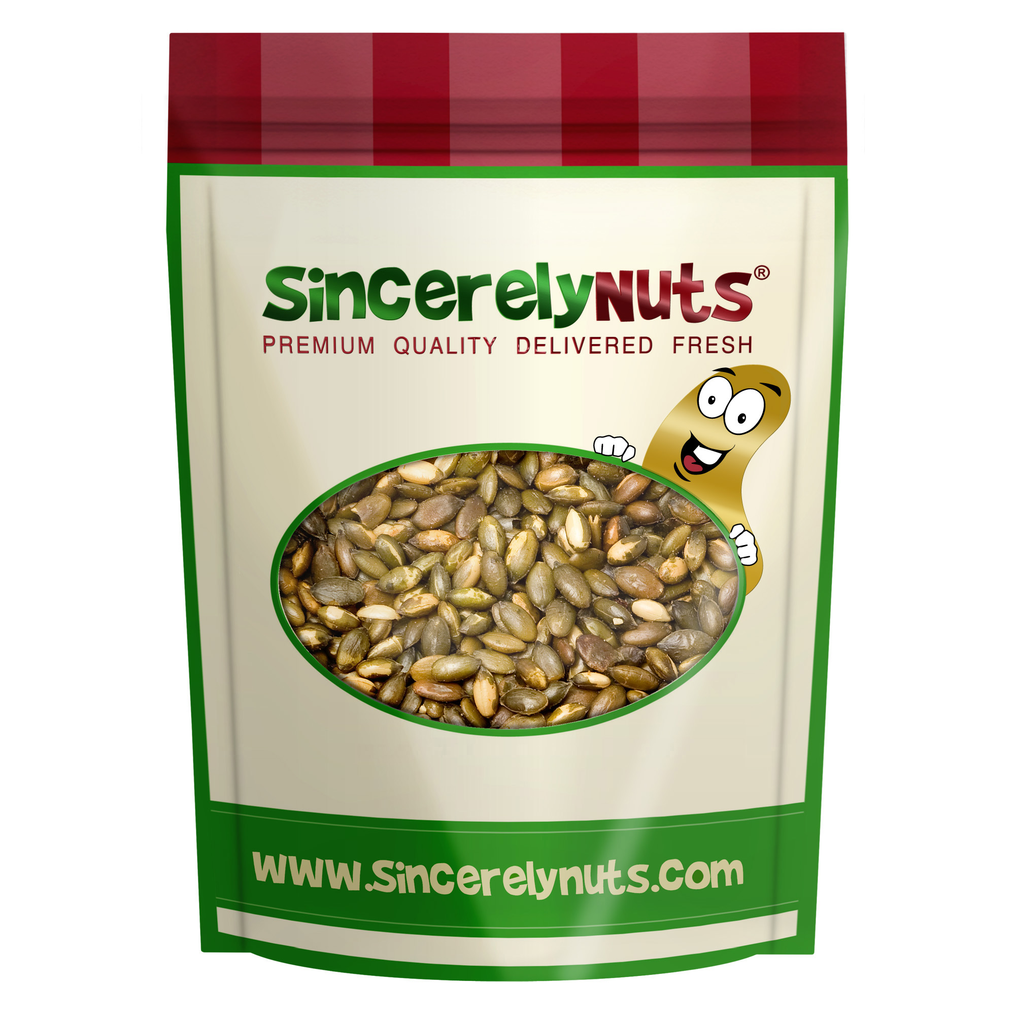 Sincerely Nuts Pumpkin Seeds (Pepitas) Roasted Salted and shelled, 2 LB Bag by Sincerely Nuts