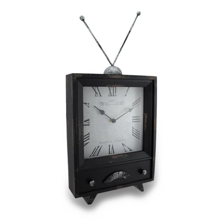Distressed Finish Vintage Television Look Table Clock