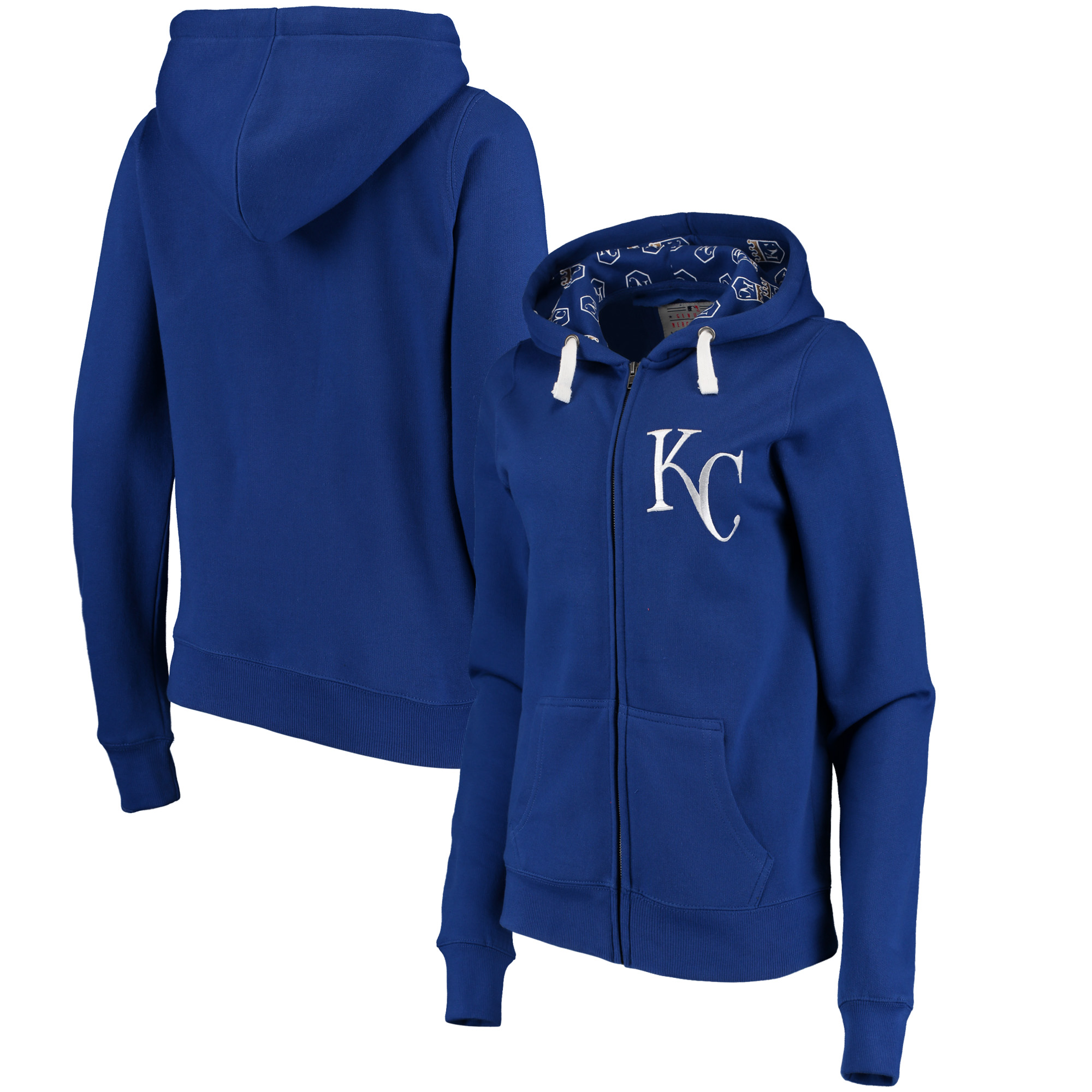 Kansas City Royals Soft as a Grape Women's Line Drive Full-Zip Hoodie - Royal
