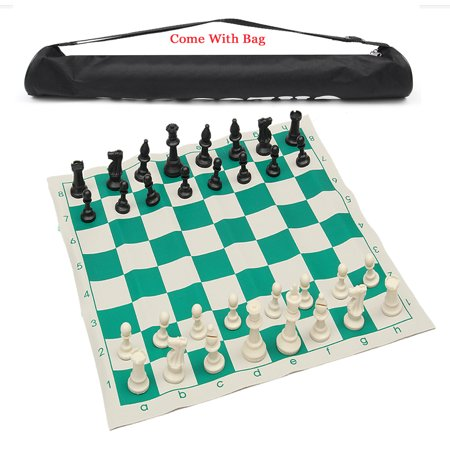 - Grtsunsea School Club Tournament Chess Set Brand New Pieces with Roll Board & Bag for Travelling Home Party