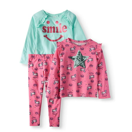 Girls' Long Sleeve Print Ruffle Tee, Graphic Ruffle Raglan Tee, & Print Leggings, 3pc Outfit Set