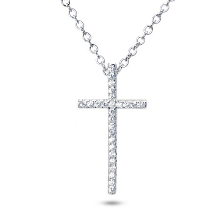 20 925 sterling silver cz cubic zirconia cross pendant necklace 20 925 sterling silver cz cubic zirconia cross pendant necklace aloadofball Image collections