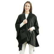 Giftable and Wearable Angel Wrap Plush Throw Blanket with Pockets, Black