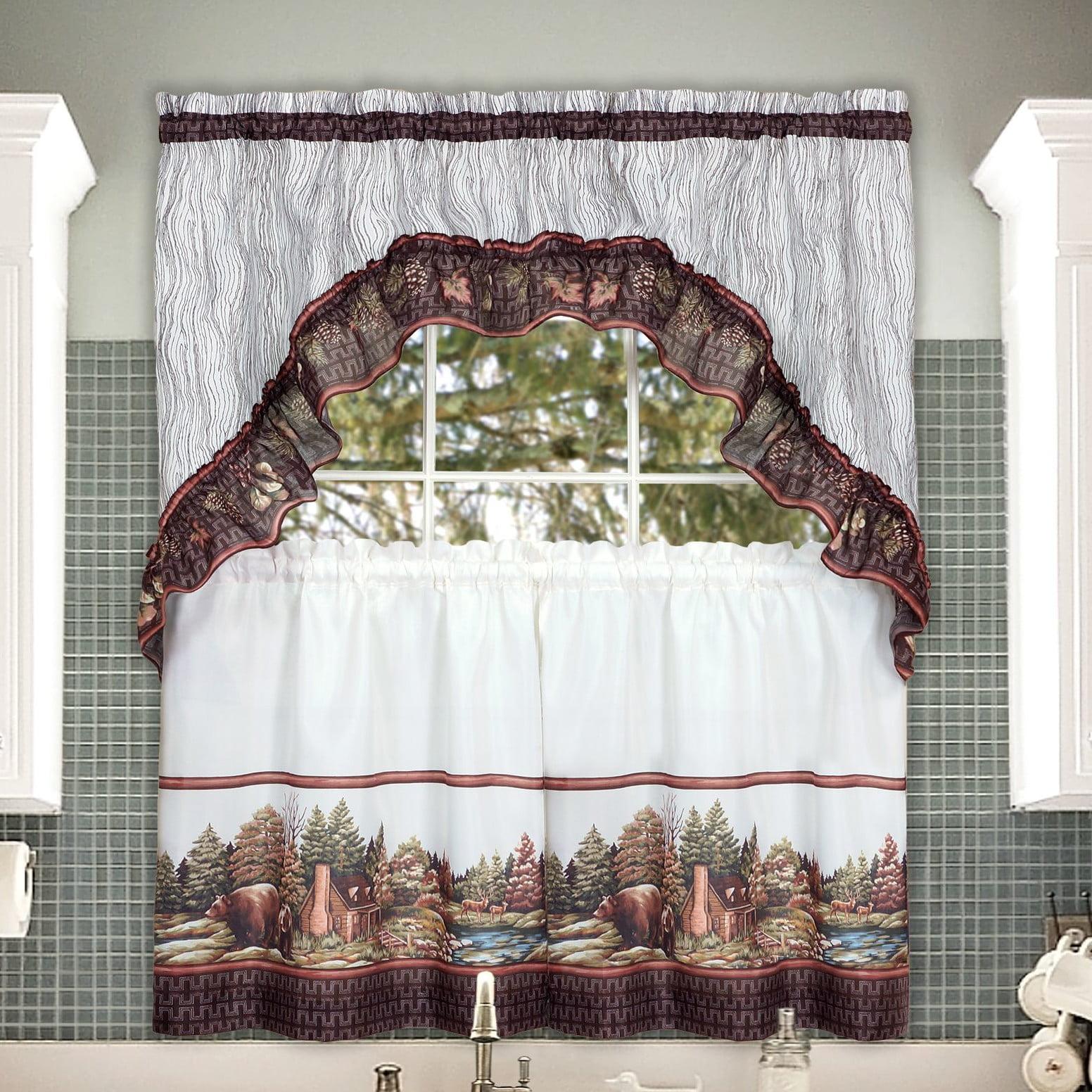 Alaska Wilderness Kitchen Curtain Tier & Swag Set- 36 In