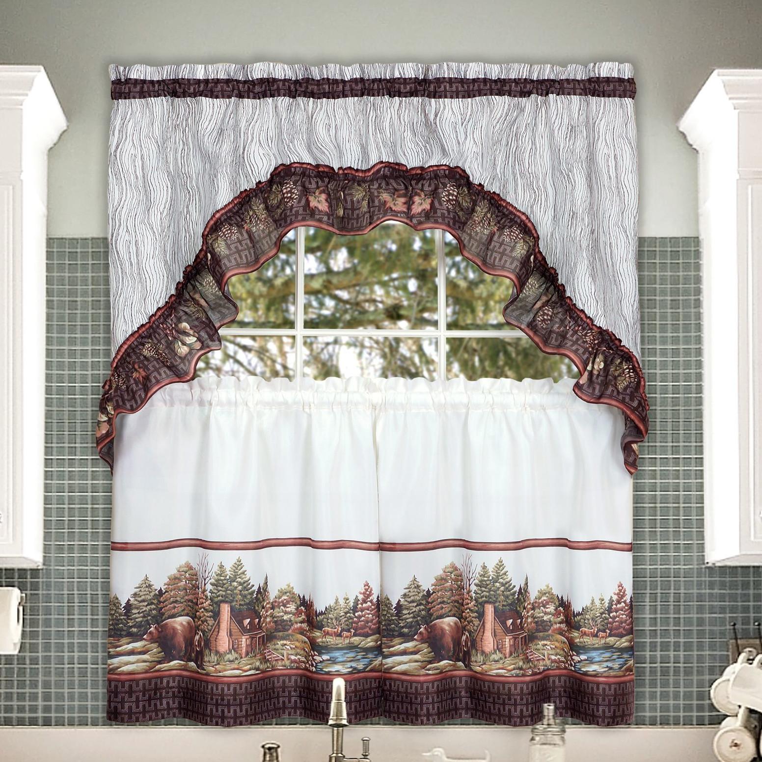 Alaska Wilderness Kitchen Curtain Tier & Swag Set