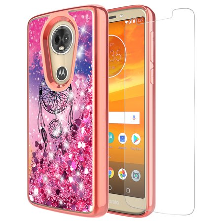 Moto G6 Play Case, Moto G6 Forge Case With Tempered Glass Screen Protector, KAESAR Quicksand Glitter Bling Liquid Graphic Protective Cover for Moto G6 Play / Forge (Dream